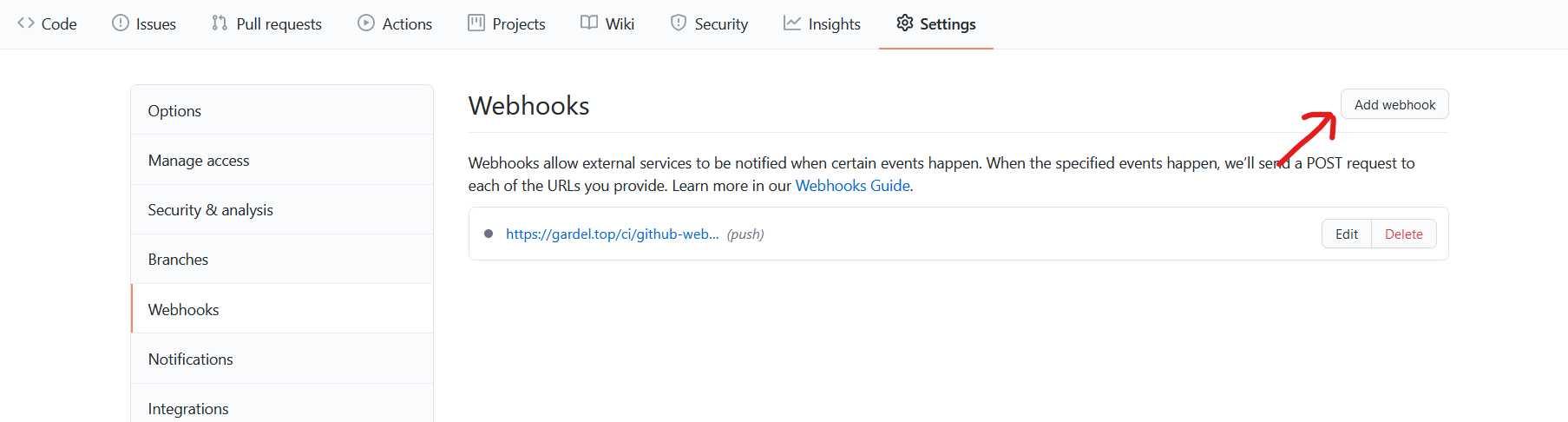 新建Webhook